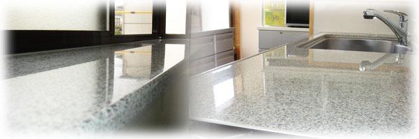 キッチン人工大理石磨き